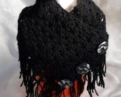 40201 black button scarf wrap