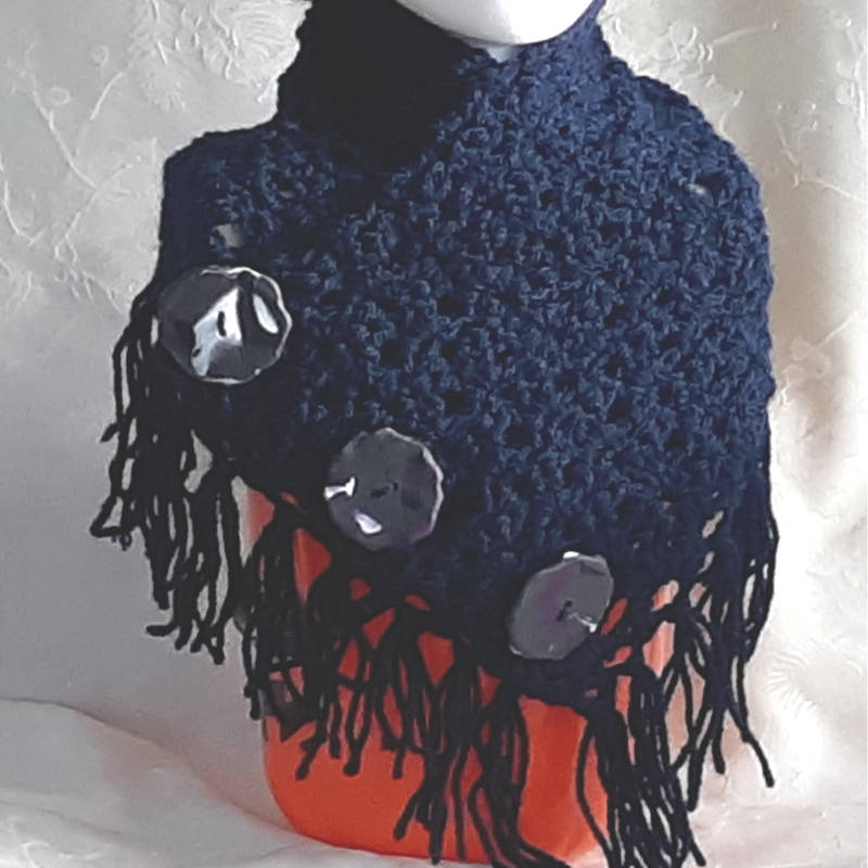 40301 blue lacy button scarf wrap